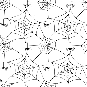 Seamless pattern with spider web and  spider isolated on white background vector flat illustration