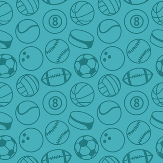 Seamless pattern with sport balls