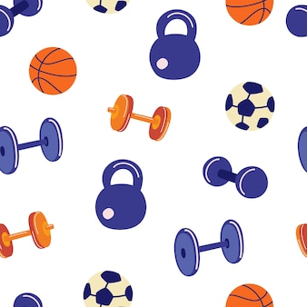 Seamless pattern with sports accessories. dumbbells, kettlebells, barbells, balls for football and basketball. fitness background. sport games equipment. vector flat illustration