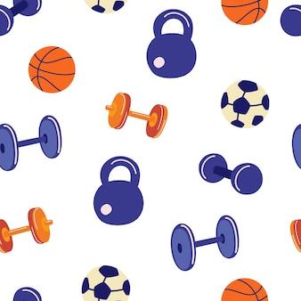 스포츠 액세서리와 함께 완벽 한 패턴입니다. 축구와 농구를 위한 덤벨, 케틀벨, 바벨, 공. 피트 니스 배경입니다. 스포츠 게임 장비. 벡터 평면 그림
