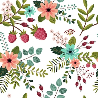 Seamless pattern with spring florals.