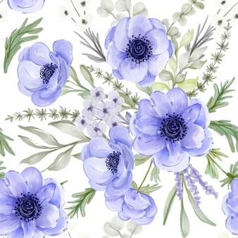 Seamless pattern with spring flower anemone
