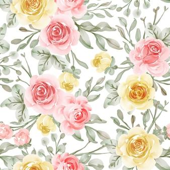 Modello senza cuciture con fiore di primavera rosa