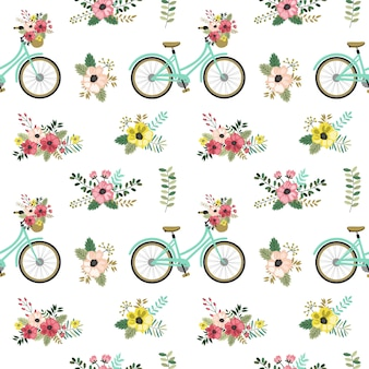 Seamless pattern with spring flower.