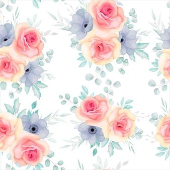 봄 꽃과 잎으로 완벽 한 패턴