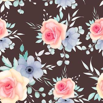 春の花と葉とのシームレスなパターン