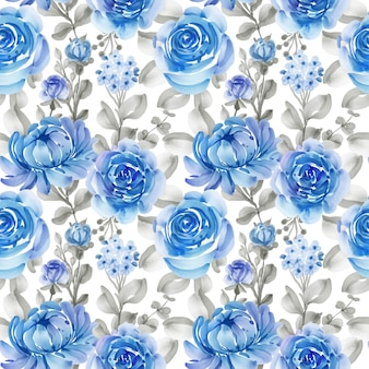 Seamless pattern with spring flowers blue and leaves Free Vector