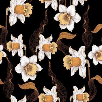 春の花、黒い背景に花飾りのシームレスなパターン。