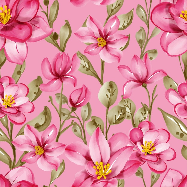 Seamless pattern with spring flowers pink and leaves