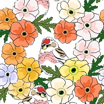 Seamless pattern with spring poppy flowers background.
