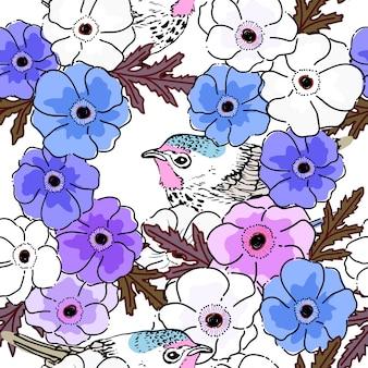春のケシの花の背景とシームレスなパターン。
