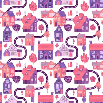 Seamless pattern with spring village with road, houses and trees.