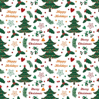 Seamless pattern with spruce, berries, leaves and twigs on white background
