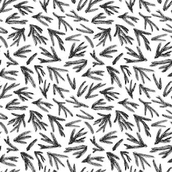 トウヒの枝とのシームレスなパターン。インクイラスト。