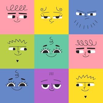 異なる顔の感情を持つ正方形の面白いキャラクターとのシームレスなパターンcolourfu現代のアバター