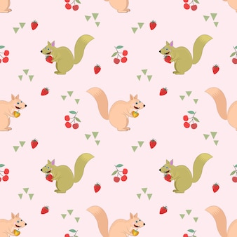 Seamless pattern with squirel and fruit.