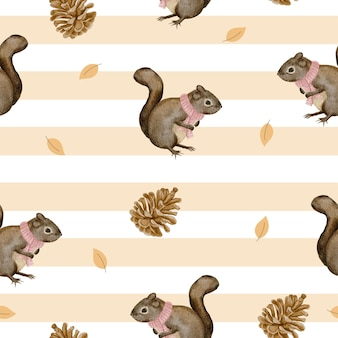 Seamless pattern with squirrel and dried pine cones, winter watercolor