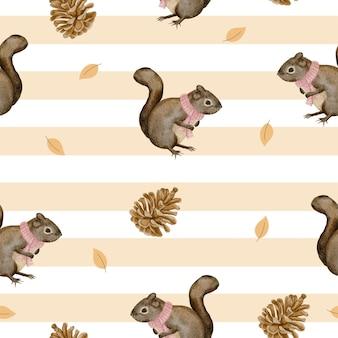 Modello senza cuciture con scoiattolo e pigne essiccate, acquerello invernale