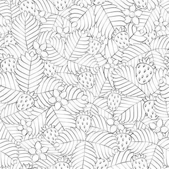 Seamless pattern with srrawberries and flowers in linear style. hand drawn field of wild forest strawberry