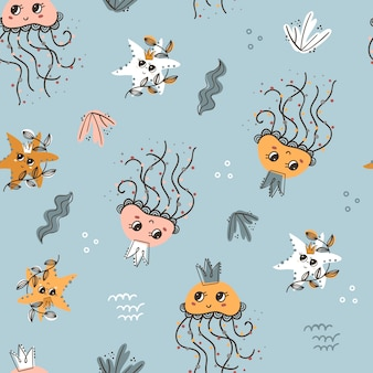 Seamless pattern with starfishes and jellyfishes