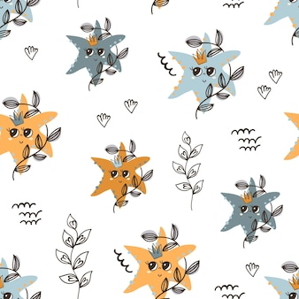 Seamless pattern with starfishes