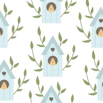葉、木の枝、ひよこが中にあるスターリングハウスのシームレスなパターン。鳥の家の背景。春のデジタル紙