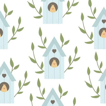 Seamless pattern with starling-house with leaves, tree branches and chick inside. bird house background. spring digital paper
