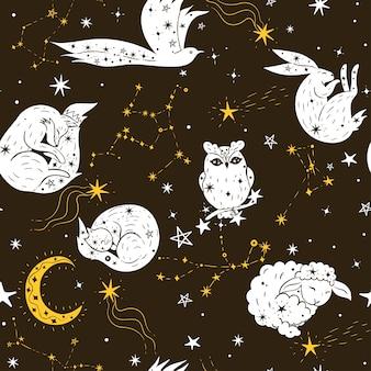 Бесшовный фон со звездами и животными.