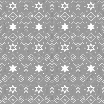크리스마스 테마 디자인을 위한 회색 배경에 별과 기하학적 요소가 있는 원활한 패턴