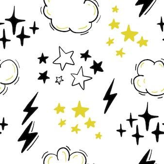 별, 구름, 번개가 손으로 그린 만화 스타일로 매끄러운 패턴입니다. 낙서, 낙서. 보육 개요 그리기입니다.
