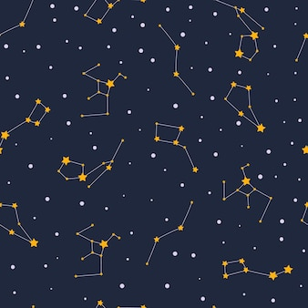 Seamless pattern with stars and constellations in open space