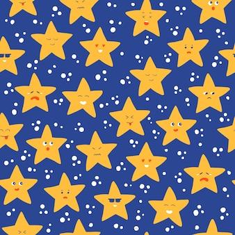 Бесшовный фон со звездами. смайлик звезды в космосе мультфильм шаблон Premium векторы