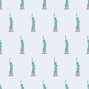 자유의 여신상으로 완벽 한 패턴입니다. 끝없는 배경. 엽서, 인쇄물, 포장지 및 배경에 적합합니다. 벡터.