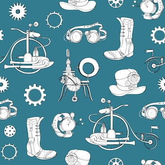 Seamless pattern with steampunk attributes and apparel hand drawn with contour lines