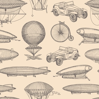 Seamless pattern with steampunk hand drawn airships, bicycles and cars illustration