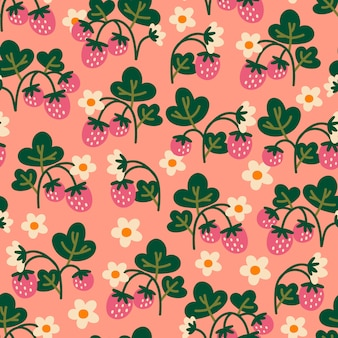 イチゴとのシームレスなパターン。抽象的な背景。布地、繊維、包装紙に最適です。