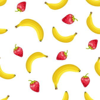 イチゴとバナナのシームレスなパターン。夏の果物の背景。