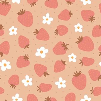 Бесшовный фон с клубникой и цветами. симпатичный простой принт для детей. бохо милый фон