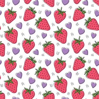 イチゴとハートのシームレスなパターン、ベクトル図