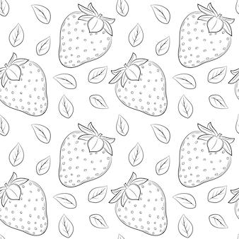 Бесшовный фон с клубникой и листьями. черно-белые рисованные линейные элементы