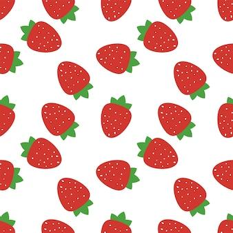 イチゴと葉のシームレスパターン