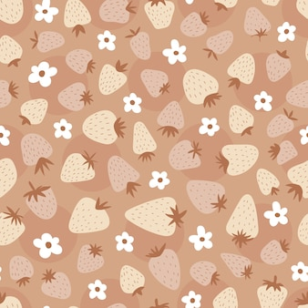 Seamless pattern with strawberries and flowers. cute simple print for kids. boho cute background