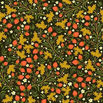ロシア風のイチゴとのシームレスなパターン。グラフィック。