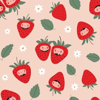 イチゴとのシームレスなパターンは花を残します愛のベリーの文字ベクトル図