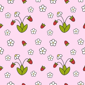 イチゴとのシームレスなパターン。子供の生地に印刷するためのピンクの背景、女の子のための縫製服。良い包装紙。