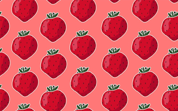 Seamless pattern with strawberries on a pink background.