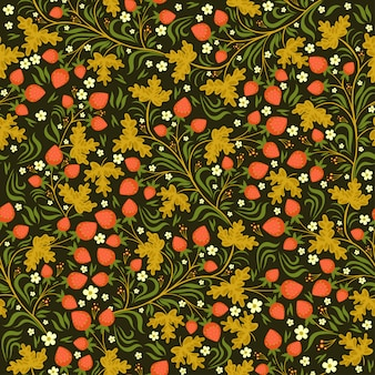 Seamless pattern with strawberries in russian style.  graphic.