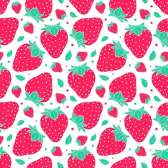 Seamless pattern with strawberries. simple color summer pattern with berries. flat elements