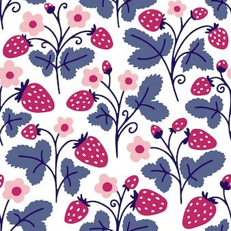 イチゴとのシームレスなパターン。かわいい花の背景。