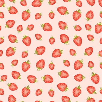 Seamless pattern with strawberry slices
